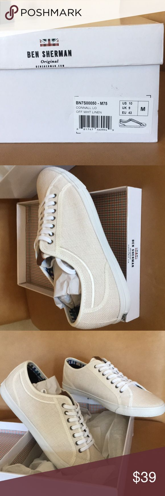 """New Ben Sherman men's size 10 white linen sneakers These are so awesome!! Purchased recently from Saks Fifth Ave.  New in box, unworn.  By renowned British designer Ben Sherman. Color is off-white or very light cream linen, size men's US 10.  Style is called """"Connall Lo"""".  Perfect pair to rock for the 2017 fall fashion sneaker trend. Ben Sherman Shoes Sneakers"""