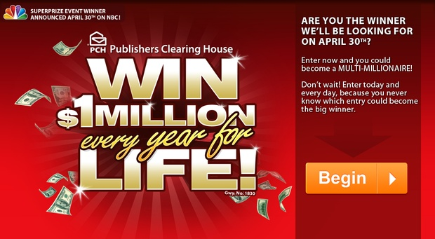 $1,000,000,00 A-Year-For-Life SuperPrize Giveaway No. 1830 from PCH