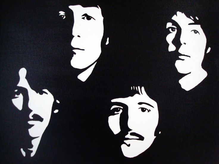 The Beatles: Black & White Pop Art Canvas Painting. $69.00 ...