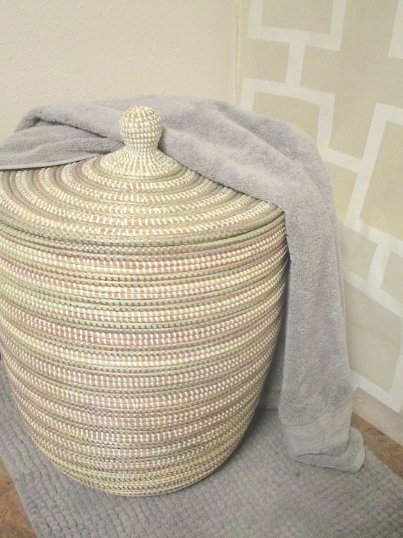 Laundry Basket African Style, Silver Grey and White Stripes, Bathroom Decor, Modern Hamper, Contemporary, Cesto, Panier,Sturdy by africanbaskets on Etsy