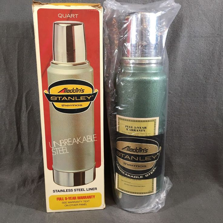 Vintage 1976 Stanley Aladdin Thermos Quart NIB Never Used Unbreakable Steel  #Thermos