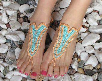 Crochet sandali a piedi nudi Tan scarpe Nude piede di barmine