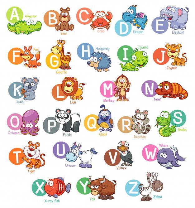 Alfabeto Ingles De Animales De Dibujos A Premium Vector Freepik Vector Ninos E Alfabeto Ingles Imagenes Del Abecedario Imagenes De Animalitos Animados