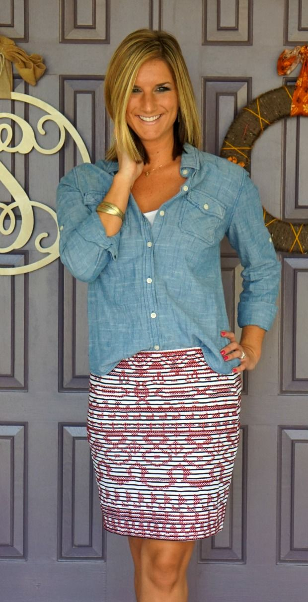 Love this chambray top-I need one.  I like this one because it's not too boxy (not your husband's shirt look) and the fabric doesn't look heavy.  Nice color too.