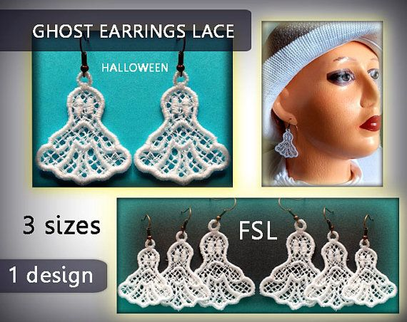 Ghost earrings lace mini -halloween - FSL - 4x4hoop - Machine embroidery…
