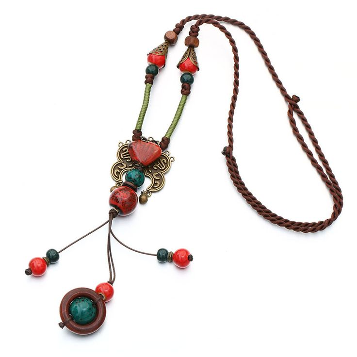 2016New Bohemia Style Jewelry Antique Gold Plated Red Color Ceramics Beads Ethnic Long Necklace For Women Statement Jewelry