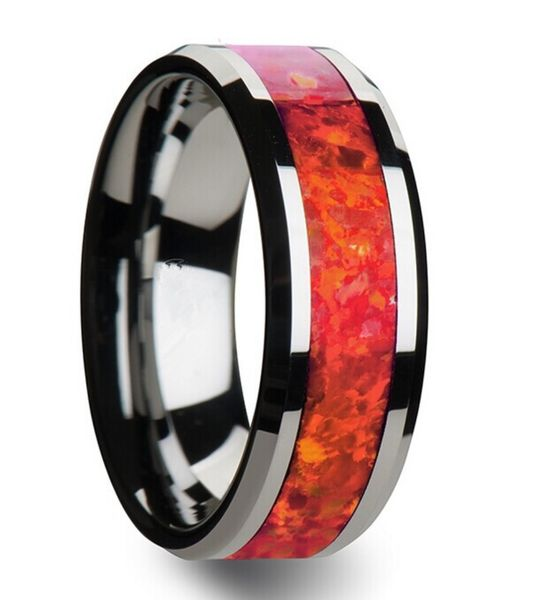 Mens Ring | The Opal Arcadia | $98 This Men's Wedding Band rises to the top while it glistens with a lustrous shine. This magnificent wedding band is a 8mm wide Black Tungsten with an elegant red & orange inlay.  | & 6mm size for a Women's Ring