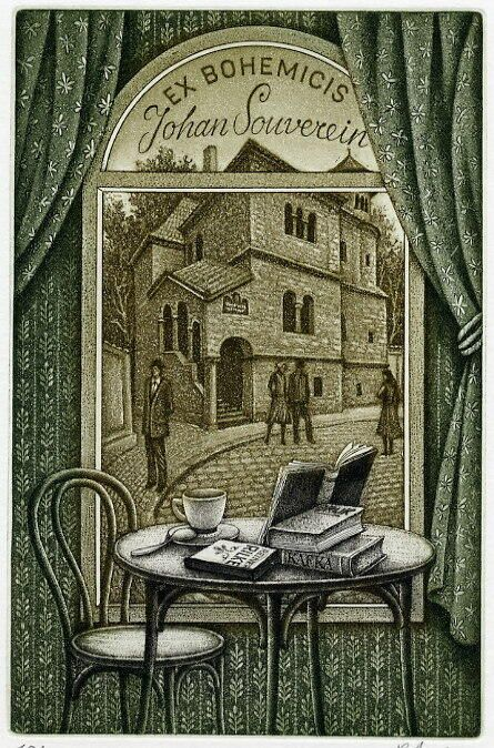 "EX LIBRIS. ""Ex Bohemcis Johan Souverein"" Cafe table with books (Rilke, Kafka, ...) & coffee by window with lovely street view. © PETER MELAN (Artist). Bookplate. Very fine!"