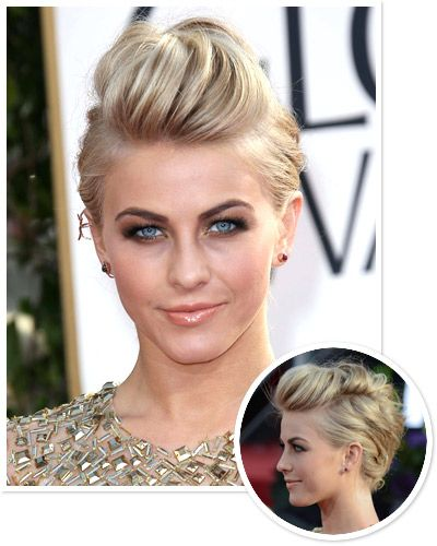 "Part the hair along both temples, twisting each side back towards the nape in two sections. To style the center, twist the front three inches of hair to the left and pin it. Twist and pin the second section to the right. Form a ""twisted Mohawk"" by alternating sides. Pull and tease small wisps for additional texture."