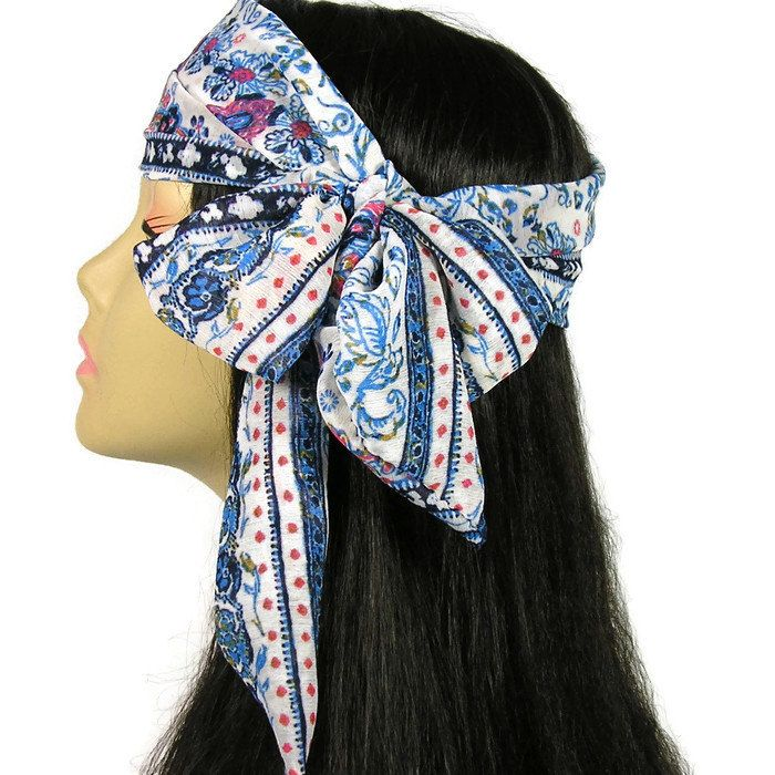 Boho Summer Hair Scarf Skinny Scarves Western Summer Retro Neck Scarves 70s Boho Head Scarves Pink Blue Paisley Scarf by LooptheLoop on Etsy