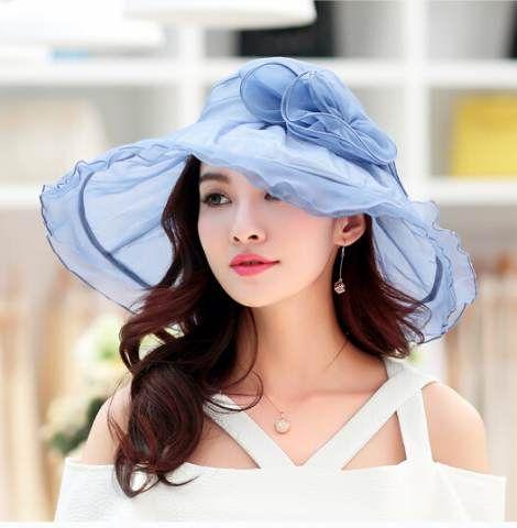 Elegant flower ladies sun hats silk UV protection package summer hats