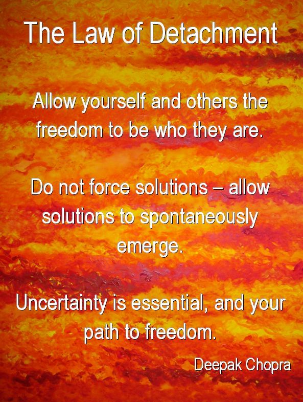 The Law of Detachment: Allow yourself and others the freedom to be who they are.