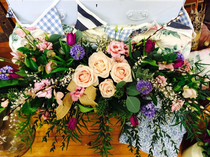 Vintage props display for weddings - Proper Vintage IOW. Flowers by Sarah Matthews Flowers.