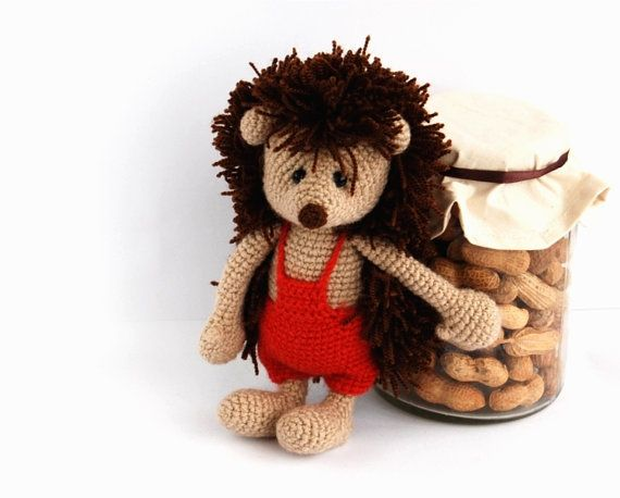 plushie hedgehog stuffed woodland animal brown beige by crochAndi, $45.46