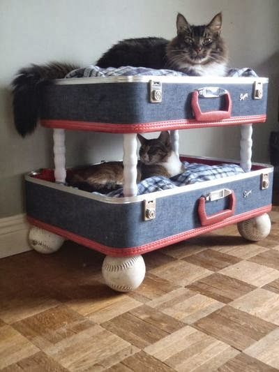 Double decker cat beds from recycled suitcases & baseballs!