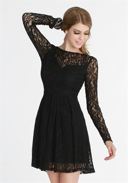 Черное ажурное платье купить