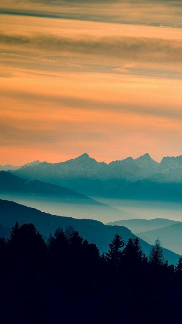 Blue Mountains Orange Clouds Sunset Landscape #iPhone