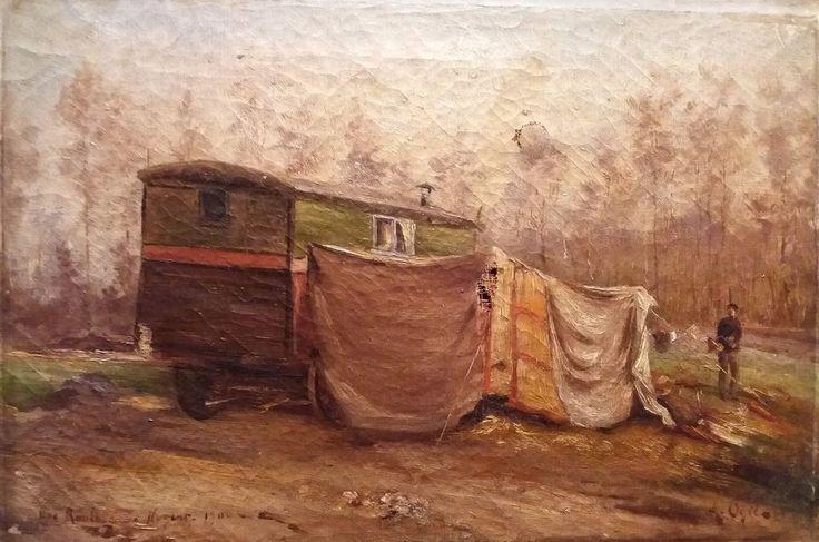 """Une roulotte a NOGENT signé """"A Ogée"""" circa 1900 huile sur toile a restaurer (5P)"""