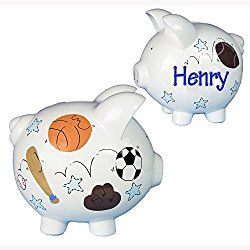 Hand Painted Personalized Sports Piggy Bank