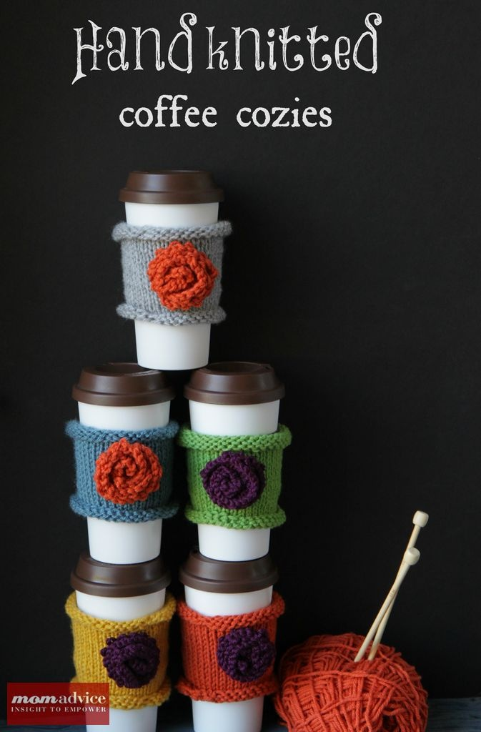 Easy & Fast Knitted Coffee Cozies featured on MomAdvice.com.