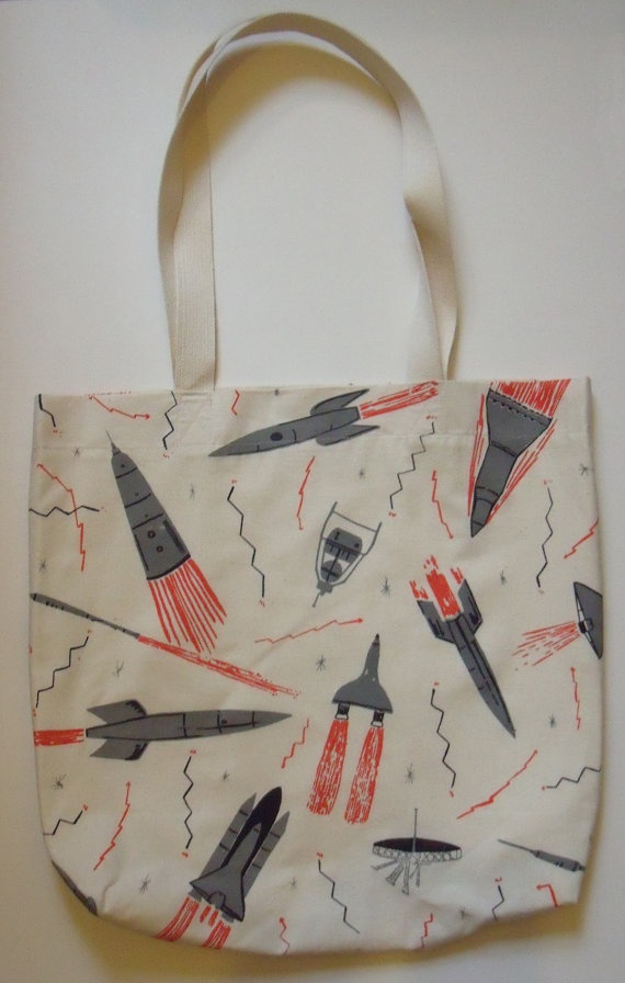 Rockets and Satellites Screen Print Space Bag