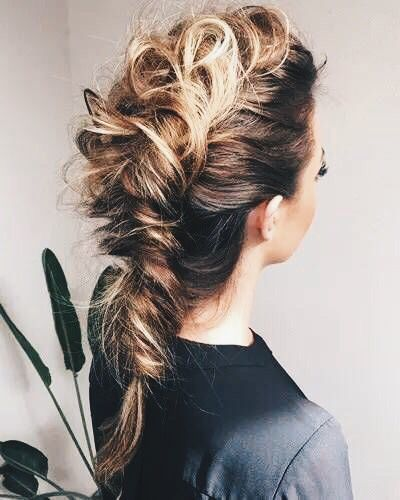 teased fishtail braid