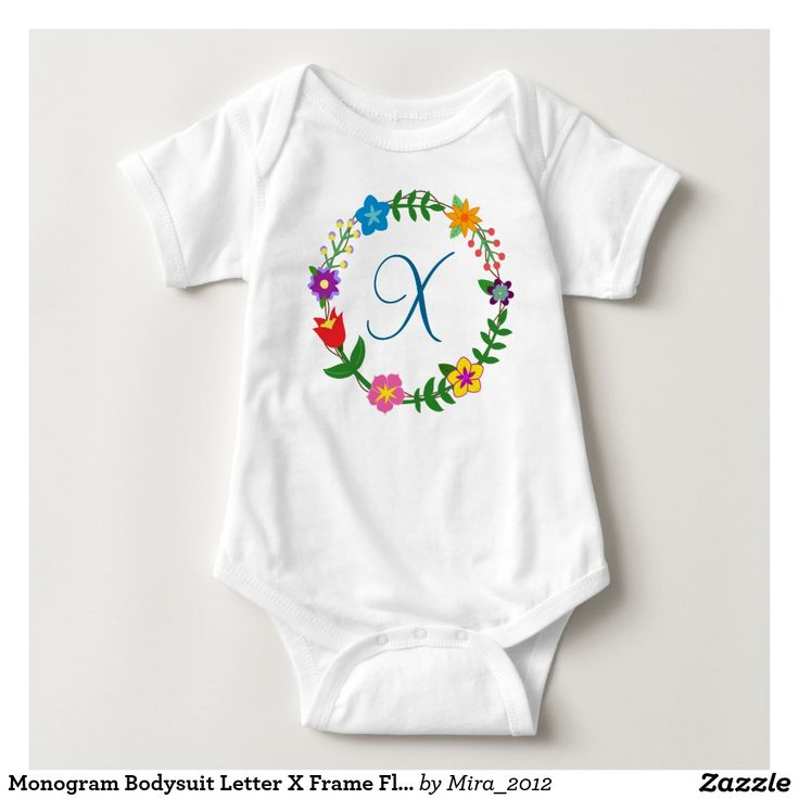 Monogram Bodysuit Letter X Frame Flowers. new baby boy gift, first birthday, or Christmas gift for a boy whose name begins with X: Xavier, Xavi, Xander, Xaime, Xil, Xeno, Xande, Xen, Ximun, Xerxes, and so on. There are two types of cursive X letters to choose from, and all the other letters of the English alphabet