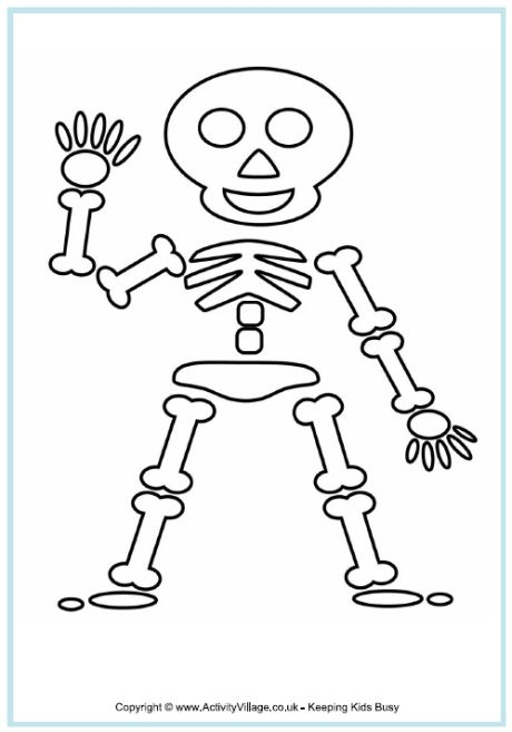 skeleton colouring page halloween colouring pages - Halloween Skeleton Template
