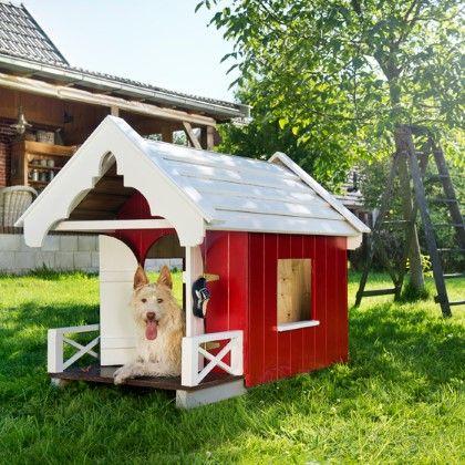 Roodgeverfd hondenhok om zelf te maken, in Landleven 8 2014.