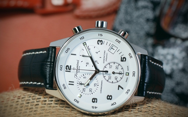 The Generations Johannes, with white dial and black leather strap.