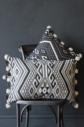 Aztec Pom Pom Cushion - Grey