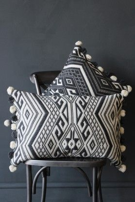 Aztec Pom Pom Cushion - Grey