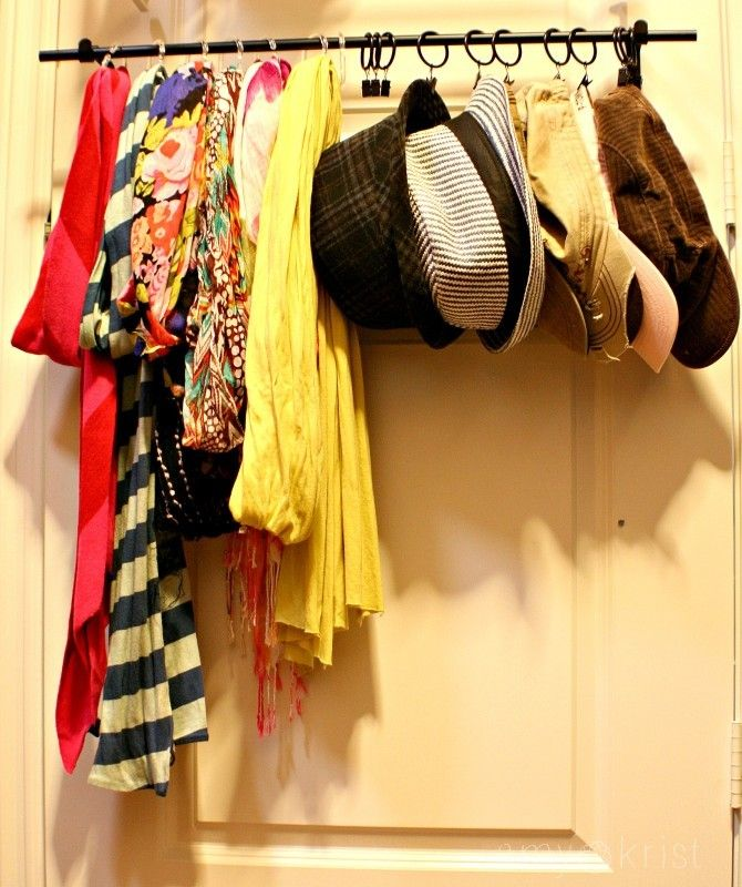 Using An Old Curtain Rod To Hang Scarves And Hats In A Closet Organizing Diy Feeling Crafty