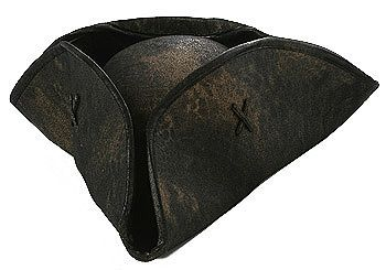orget the most important pirate accessory, the black Caribbean pirate hat! This hat will definitely add some class to your pirate costume. It has a tri-corner shape and a leather-like appearance. The inside me