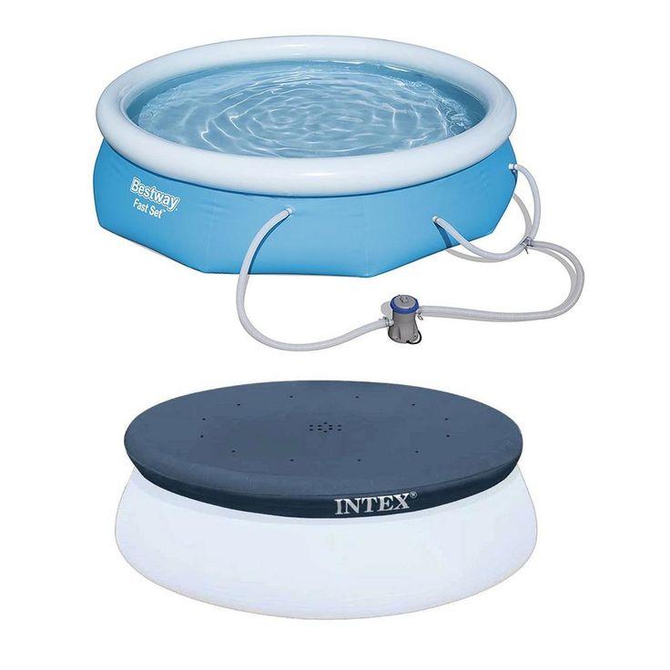 Piscina Bestway de 10 pés x 30 pol. Piscina acima do solo com bomba de filtro, Intex Cobertura redonda de piscina de 10 pol. 57269E-BW + 28021E   – Products