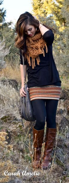 Tribal Mini Skirt with Matching Shirt and Leggings, Knee-High Boots, and Chunky Scarf. Love this look!