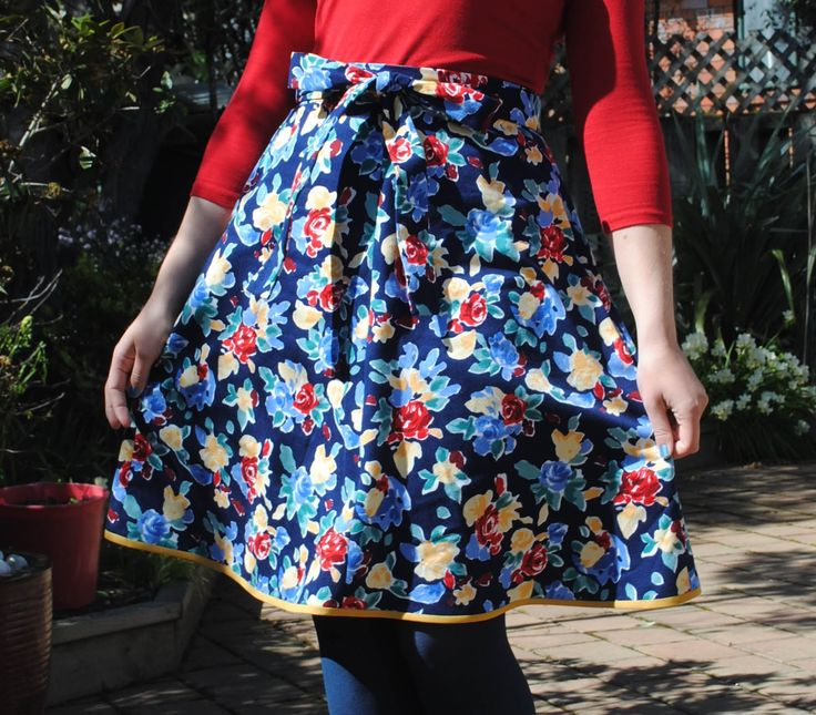My second Miette skirt in navy, yellow, red, green and blue floral print. Pattern from Tilly and the Buttons. My blog: The Cherry Dress  Holly Dunn Design