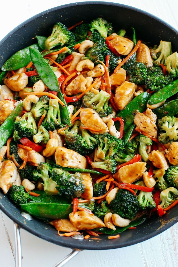 A frying pan Cashew Chicken Stir Fry