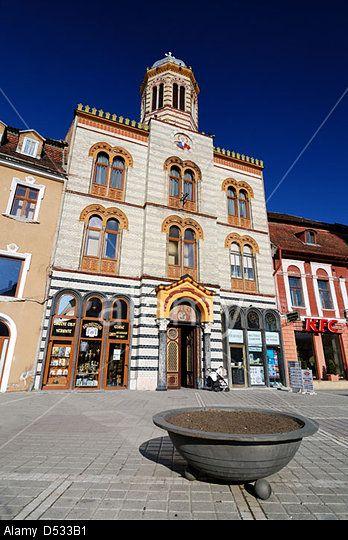 Byzantine style church in Council Square, Brasov. Transylvania, Romania