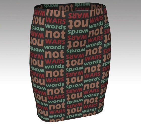 Words not war pencil skirt slogan mini skirt brown red green orange peace slogan author writer writing alternative clothing size xs s m l xl by RedThanet on Etsy