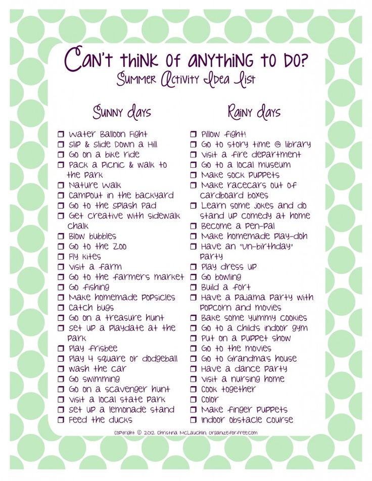 Summer Activity Idea List - indoor and outdoor activities