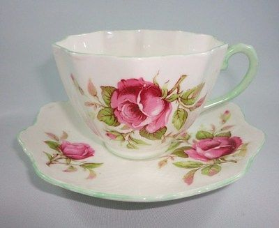 OLD Paragon Green Handle Pink Roses TEA CUP AND Saucer SET | eBay