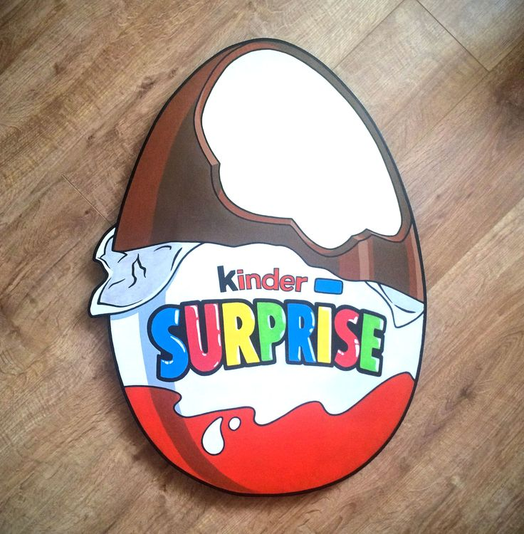 Giant wooden Kinder Surprise egg.
