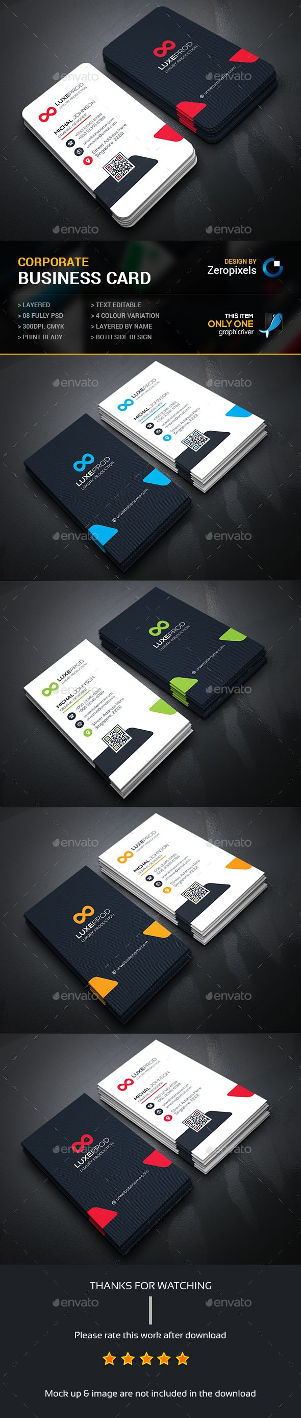 Corporate Business Card — Photoshop PSD #green #both side design • Available here → https://graphicriver.net/item/corporate-business-card/15620673?ref=pxcr