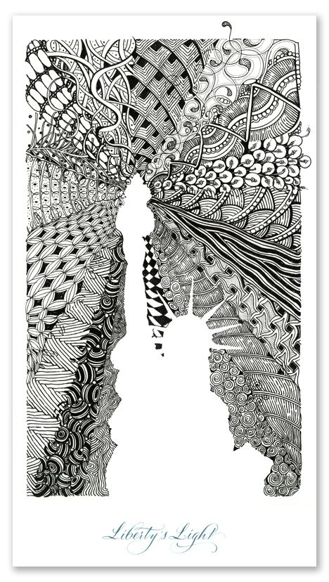 Zentangle that I think is really cool. I like how they used the Liberty Statue and drew around the white space.