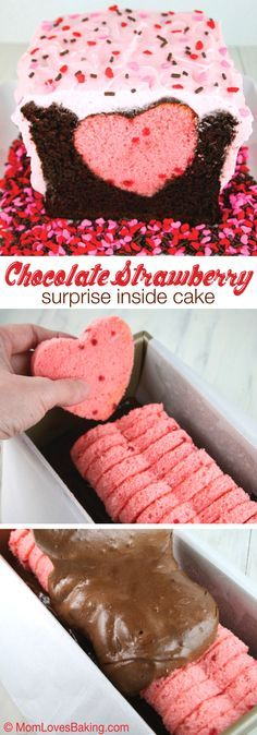 An adorable cake to satisfy chocolate covered strawberry lovers. Super cute with a pink heart surprise inside.