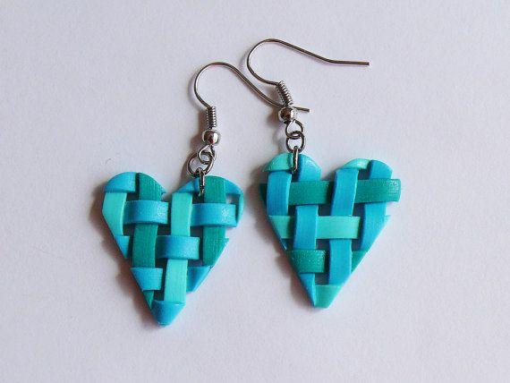 Polymer clay earrings Heart earrings Spring by UnrealColours, $14.00