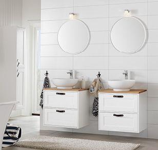 Lantligt och klassiskt badrum från Hafa