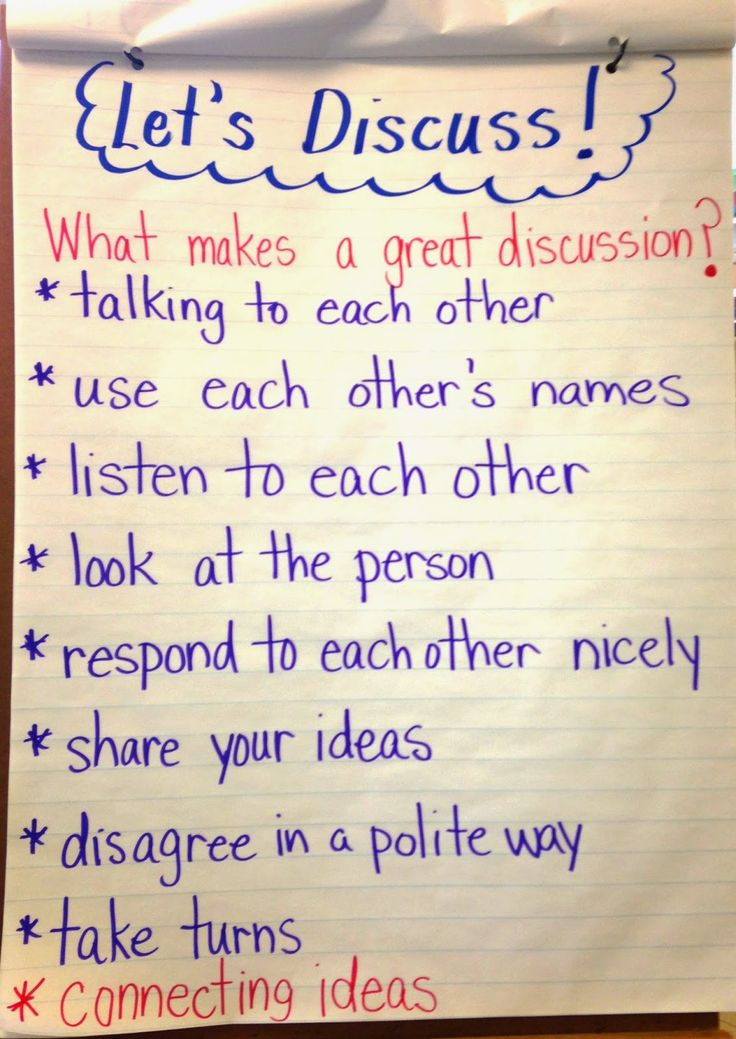 Anchor Chart: Let's Discuss - guidelines for a rich group discussion. (Simply Skilled in Second Blog)