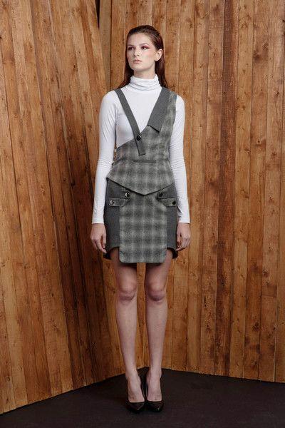 Two-tone Cross Tab Wool Blend Pencil Skirt